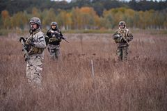 站立在领域的小组武装的战士 免版税库存照片