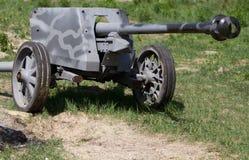 站立在领域的老德国大炮 免版税图库摄影