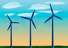 站立在领域的风车以蓝天,力量风,供选择的能源为背景 皇族释放例证