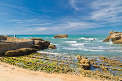 站立在风景五颜六色的大西洋海岸的岩石的新娘和新郎婚礼在蓝天在比亚利兹,巴斯克国家,法国 库存图片