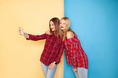 站立在黄色和蓝色墙壁的年轻愉快的妇女朋友的图象 免版税库存图片
