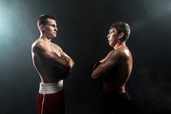 站立在黑发烟性背景的两位专家拳击手, 库存图片