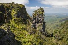 站立在绿色树木丛生的峡谷的石峰岩石 免版税库存照片
