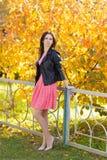 站立在黄色树背景的桃红色礼服的年轻美丽的妇女在秋天公园 免版税库存图片