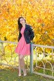 站立在黄色背景的桃红色礼服的年轻美丽的妇女在秋天公园离开 免版税库存图片