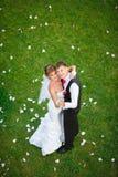 站立在绿草的愉快的婚礼夫妇 库存照片