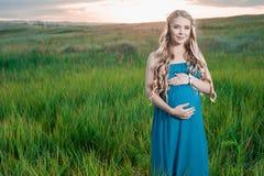 站立在绿草的美丽的嫩孕妇 免版税库存照片