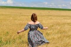 站立在黑麦领域的最大的礼服的妇女 免版税图库摄影