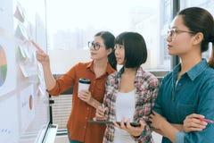 站立在whiteboard前面的商人 免版税库存照片