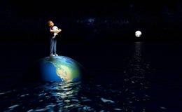 站立地球上的孩子在海洋 皇族释放例证