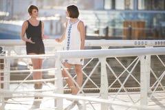 站立户外在桥梁的年轻可爱的女孩一起笑 免版税库存图片