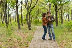 站立爱恋的夫妇握手 免版税库存照片