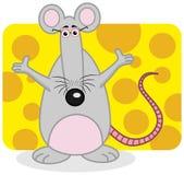 站立用乳酪的鼠 免版税库存图片