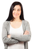 站立用手的少妇被折叠 免版税库存照片