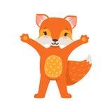 站立用手的逗人喜爱的橙色狐狸字符,滑稽的动画片森林动物摆在的传染媒介例证 免版税图库摄影