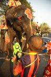 站立的大象嬉戏地飞溅水在Songkran节日的一条街道 库存照片