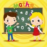站立近的黑板的两个孩子 回到概念学校 也corel凹道例证向量 库存照片