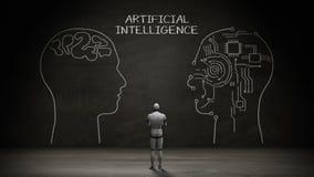 站立黑墙壁,手写人头形状, `在黑板的人工智能`的概念的机器人靠机械装置维持生命的人 向量例证