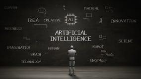 站立黑墙壁,手写数字式象, `在黑板的人工智能`的概念的机器人靠机械装置维持生命的人 库存例证