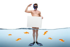 站立年轻的商人没膝在水中 免版税库存照片