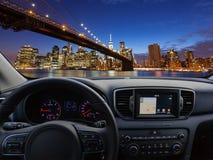 竞争一块汽车仪表板的w在新旅行的到纽约 免版税图库摄影