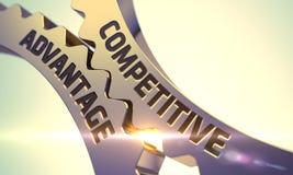 竞争优势概念 金黄金属齿轮 3d 免版税库存照片