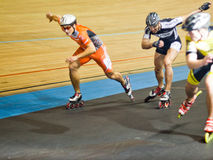 竞争四轮溜冰 免版税库存图片