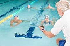 竞争池游泳者游泳培训 免版税图库摄影
