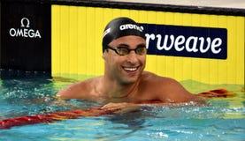 竞争游泳者利马费莉佩胸罩 图库摄影