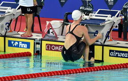 竞争游泳者埃米莉・西博姆AUS 图库摄影