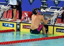 竞争游泳者SANKOVICH Pavel BLR 免版税图库摄影