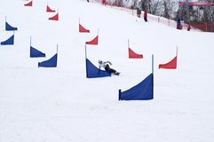 竞争雪板 免版税库存照片