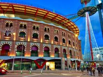 竞技场在街市的巴塞罗那,西班牙 图库摄影