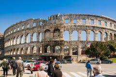 竞技场,在普拉,克罗地亚的罗马Aphitheater 免版税库存图片