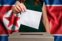 竞选在北朝鲜-投票在投票箱 免版税库存图片