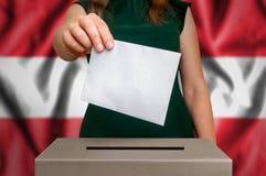 竞选在奥地利-投票在投票箱 免版税库存图片