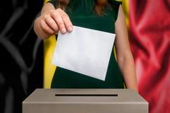 竞选在比利时-投票在投票箱 免版税图库摄影
