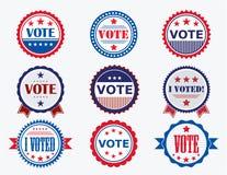 竞选投票的贴纸和徽章 库存图片