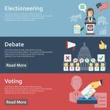 竞选水平的横幅设置了与平的投票的元素传染媒介例证 免版税库存图片