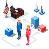 竞选Infographic我们Vector Isometric People总统 库存照片