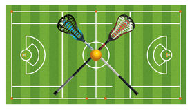 章程曲棍网兜球领域和棍子 免版税库存照片