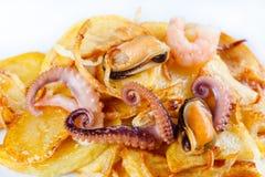 章鱼、淡菜和虾用炸薯条 在油煎的土豆的海鲜盘 奶油被装载的饼干 复制空间 特写镜头 库存照片