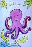 章鱼动画片传染媒介例证 免版税图库摄影