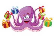 章鱼和礼物盒 免版税图库摄影