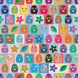 章鱼小五颜六色的对称无缝的样式 免版税库存图片