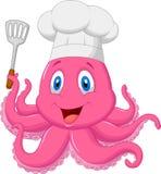 章鱼拿着小铲的厨师动画片 皇族释放例证