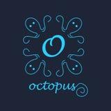 章鱼概念性例证商标蓝色框架 图库摄影