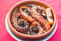章鱼烤了用黑胡椒,牛至香料用橄榄 库存图片