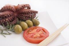 章鱼用蕃茄、橄榄&迷迭香 库存图片