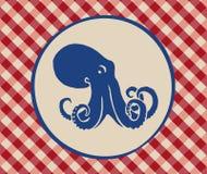 章鱼的葡萄酒例证 免版税库存照片